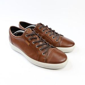 Ecco Men's Soft 7 Brown Leather LaceUp Sneakers 46